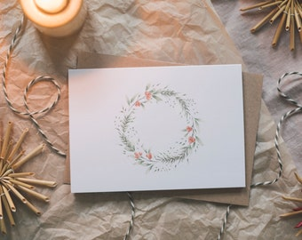 Folding card Christmas wreath, Advent, winter Christmas, greeting card with envelope
