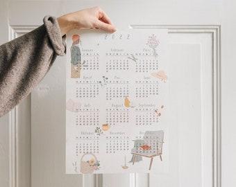 Poster Calendar 2022, DIN A3, illustrated annual calendar
