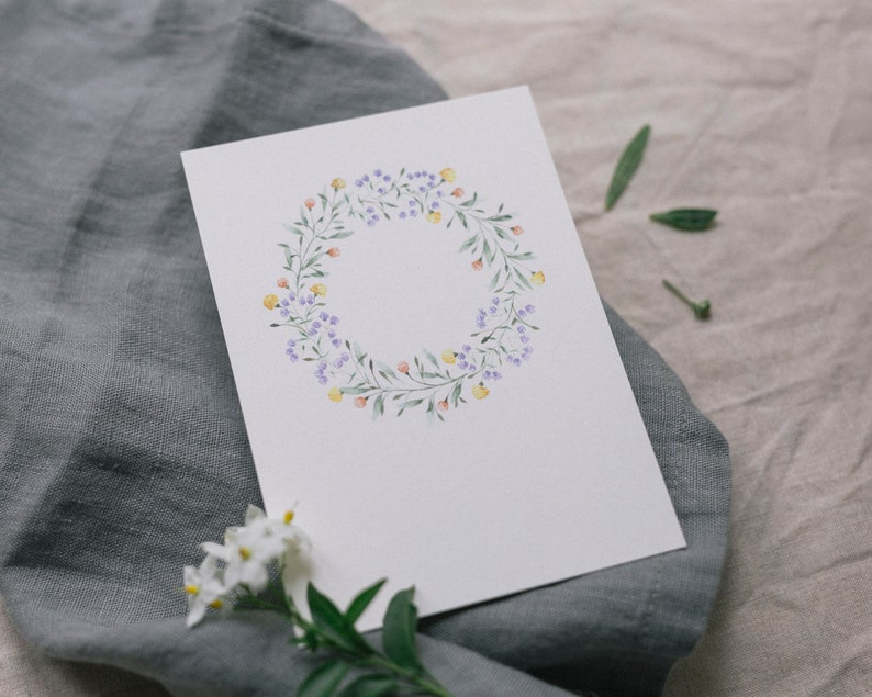 Postcard Delicate Buds Flower Wreath Greeting Card image 0