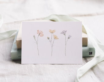 Postcard Botanical Drawing, Floral Greeting Card