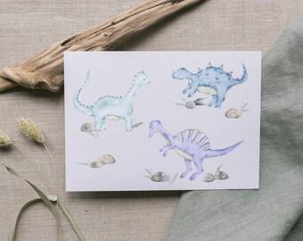 Postcard Dinos, Greeting Card Kids Birthday