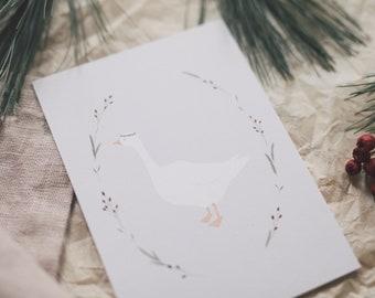 Postcard Christmas Goose, Advent, Winter Christmas, Greeting Card