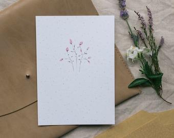 Postcard Pink Buds, Flowers, Greeting Card