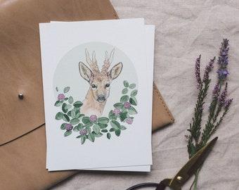 Postcard Deer, Illustrated Greeting Card