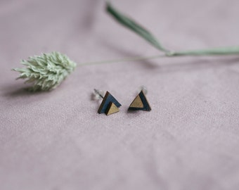 Studs double triangle in gold-blue, jewelry made of wood