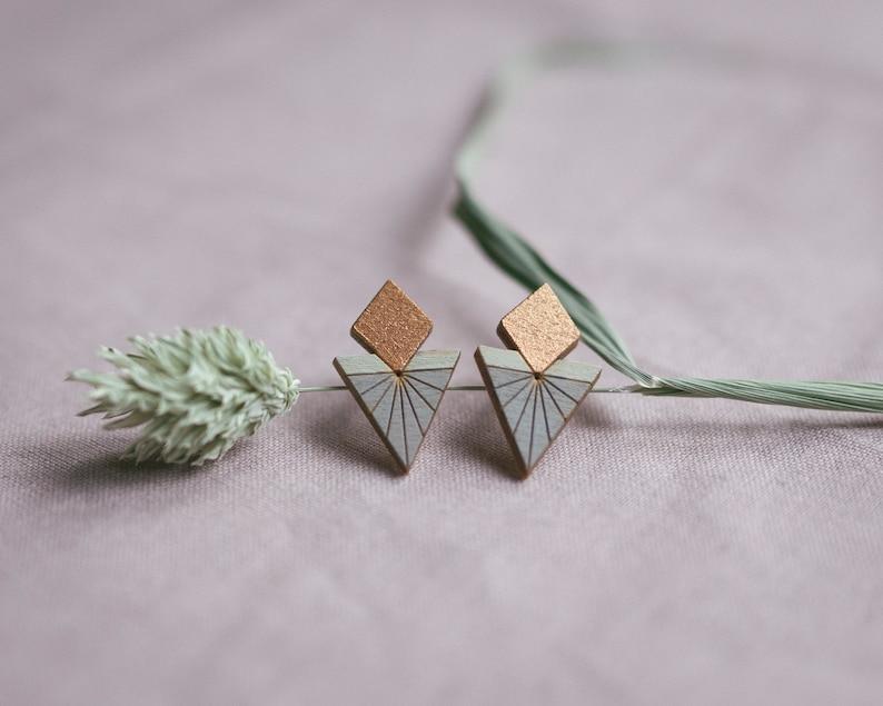 Maya stud earrings in copper mint grey wooden jewelry image 0