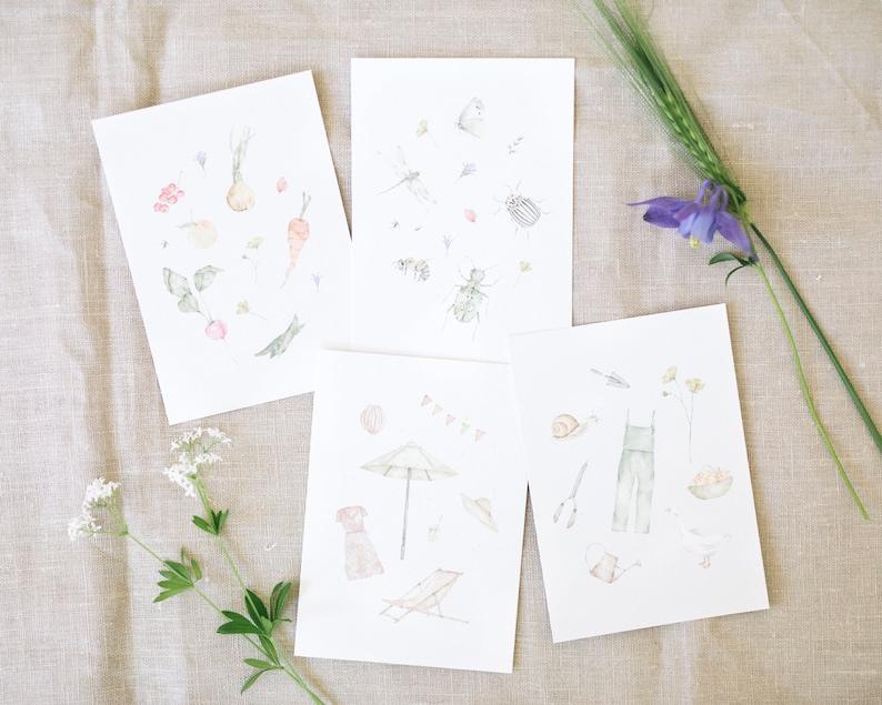 Set of 4 postcards summer garden greeting cards DIN A6 image 0
