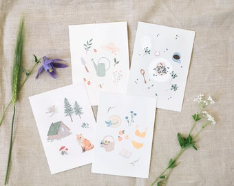 4 Postcard set, love of nature, greeting cards DIN A6