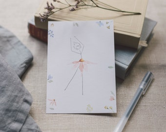 Postcard Flower Girl, Greeting Card Flower Ballerina