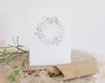 Set postcard and flower seed flower wreath, floral greeting card