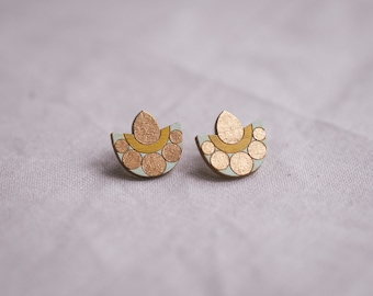 Studs Inca in copper mint yellow, wooden jewelry