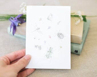 Postcard insect happiness, garden, floral greeting card
