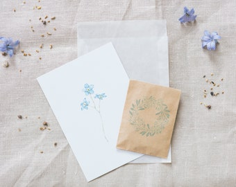 Set Postcard and Flower Seed Forget Me Not, Floral Greeting Card