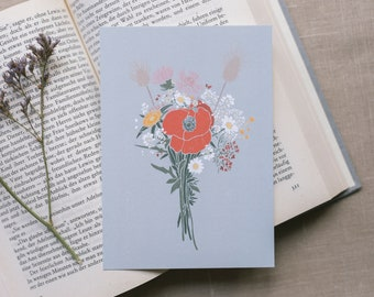 Postcard bouquet poppy, greeting card