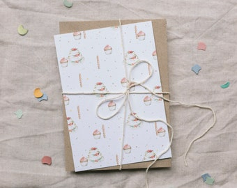 Postcard Festivities and Fetes, Greeting Card with Cake