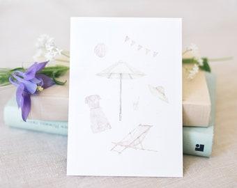 Postcard garden party, garden, floral greeting card