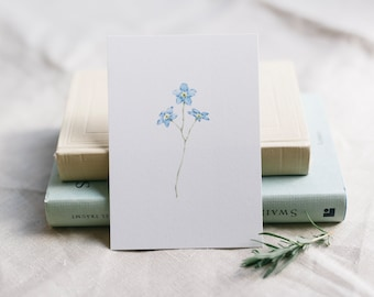 Postcard Forget Me Not, Floral Greeting Card, Funeral Card