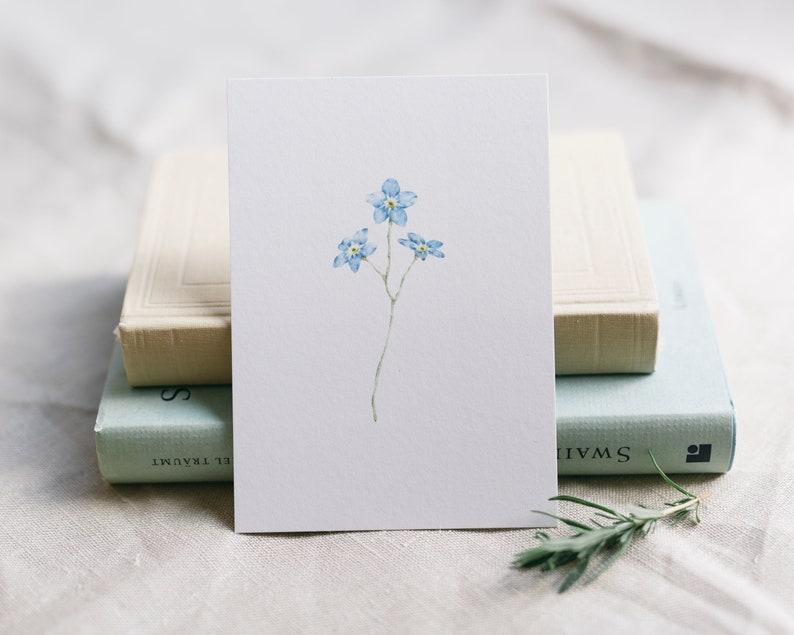 Postcard Forget Me Not Floral Greeting Card Funeral Card image 0