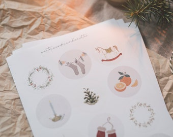 Stickers for winter and Christmas, set of 2, vegan, Advent, crafts, 24 removable stickers