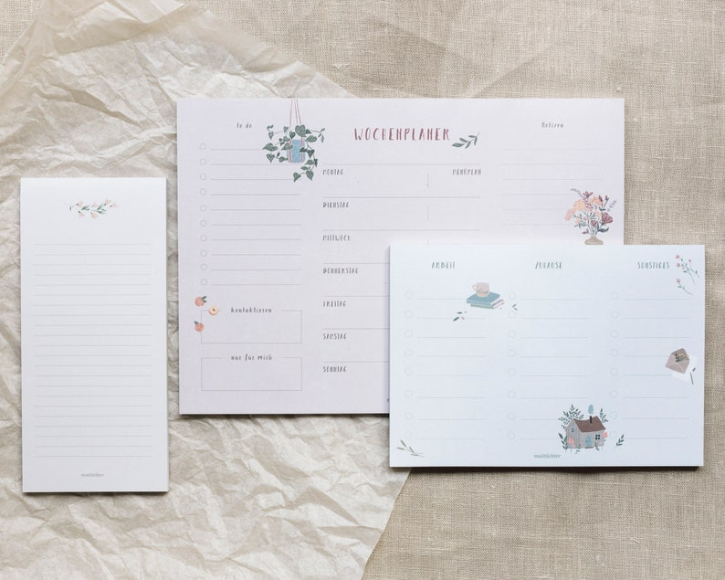 Set of 3 pieces Notepad  Weekly Planner  to do list image 0