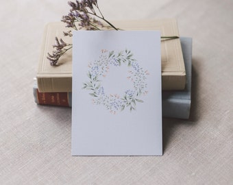 Postcard flower wreath pink-blue, greeting card