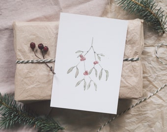 Postcard Mistletoe, Advent, Winter Christmas, Greeting Card