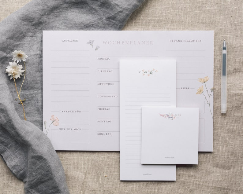 Floral Set 3 Pieces  Notepad blank and lined  Weekly planner image 0
