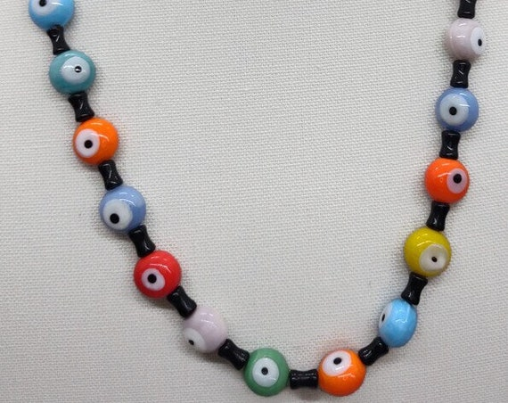 N-1503 Multi Colored Glass Bead Necklace
