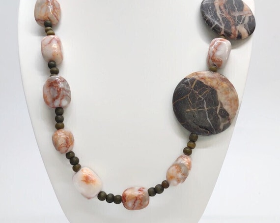 N-1625  Stone Bead Necklace