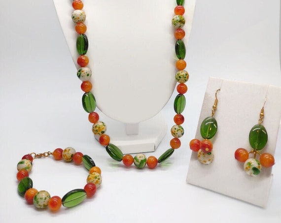S-1669 Handcrafted glass bead neaklace set