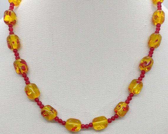 Handcrafted resin beaded necklace