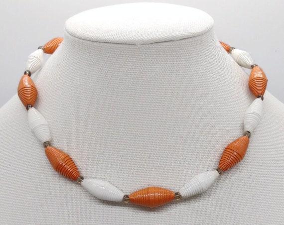 N-1657 Orange Paper Bead Necklace