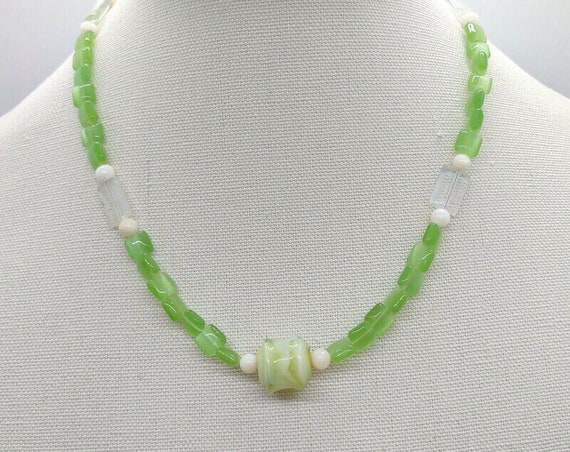 N-1627 Apple Green Beaded Necklace