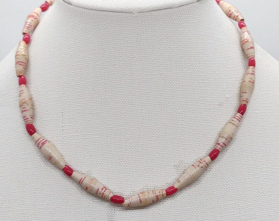 N-1522 Pink Paper Bead Necklace