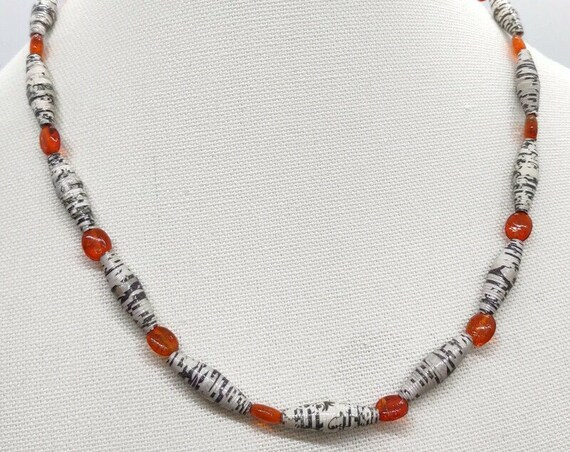 N-1661 Paper Bead Necklace