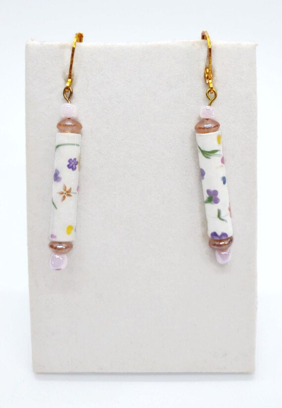E-1676 Paper bead Floral Print Earrings