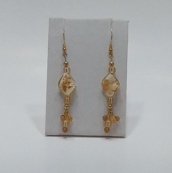 E-1535 Gold and White  Earrings