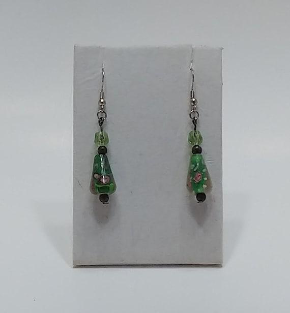 E-1531 Green Floral Earrings