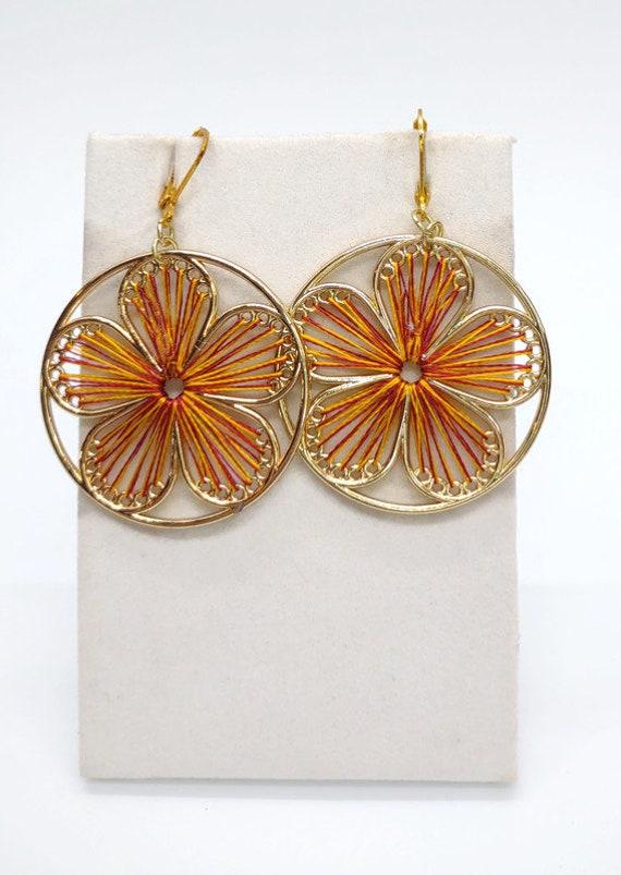 E-1695 Flower Silk Thread Earrings Handcrafted