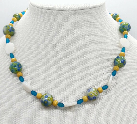 Handcrafted Glass and shell bead Necklace