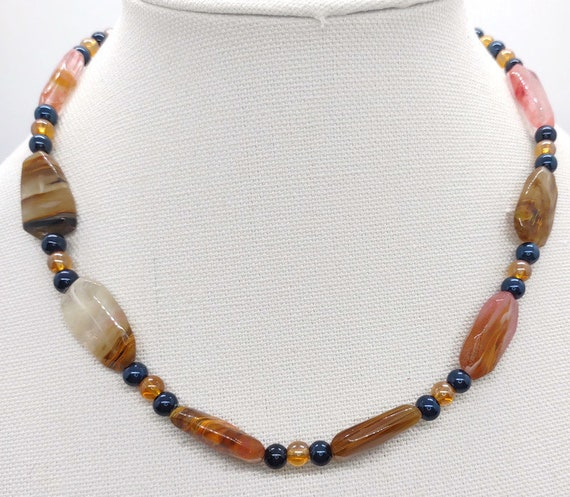 N-1647 Stone and Glass Necklace