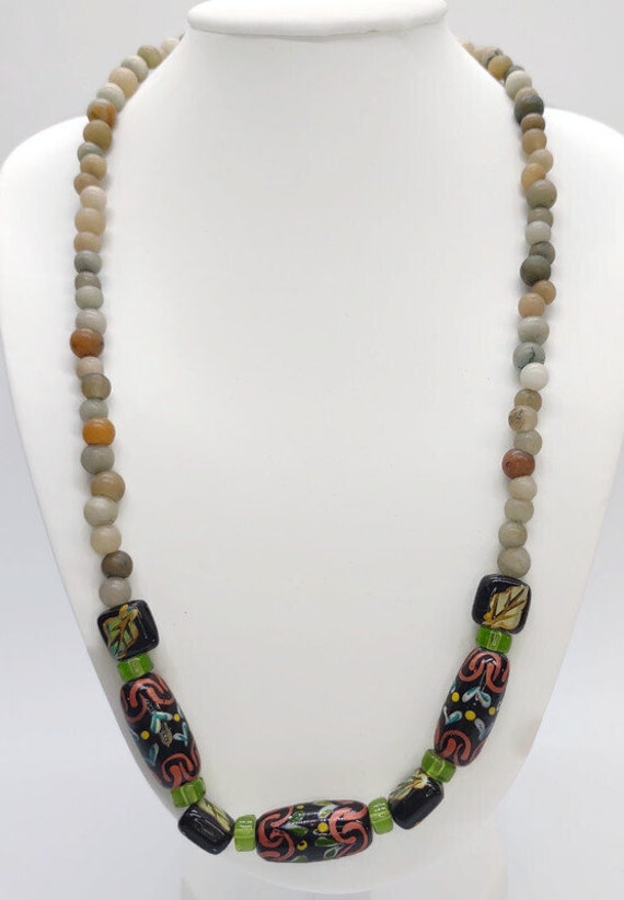 N-1634 Stone and Painted Bead Necklace