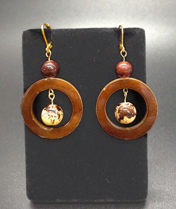 E-1684 Brown and Cream Earrings