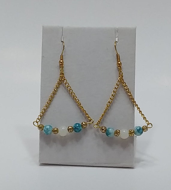 E-1529 Teal White and Gold Earrings