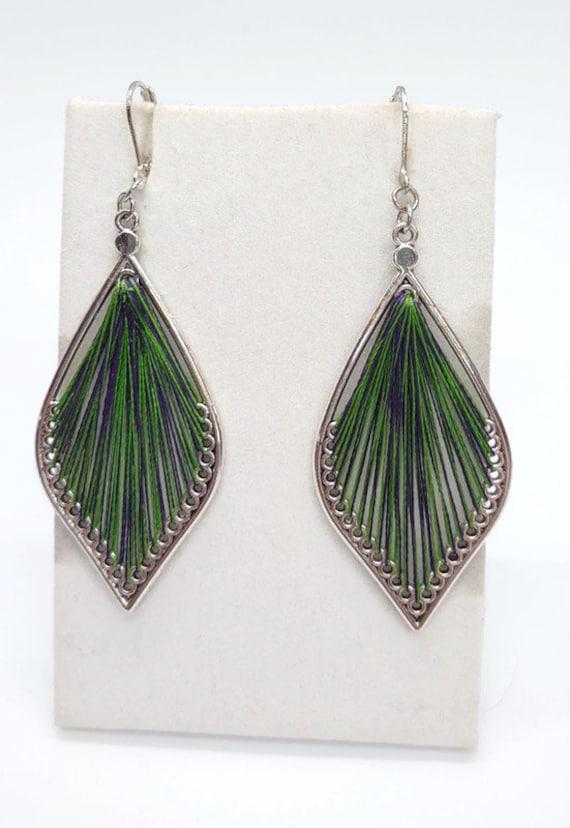 E-1678 Green Silk Earrings