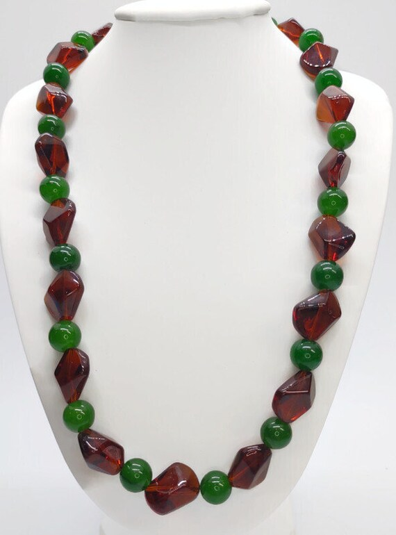 N-1611 Green and Brown Glass Bead Necklace