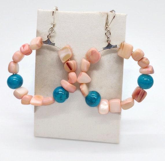 E-1677 Pink Shell Hoop Earrings