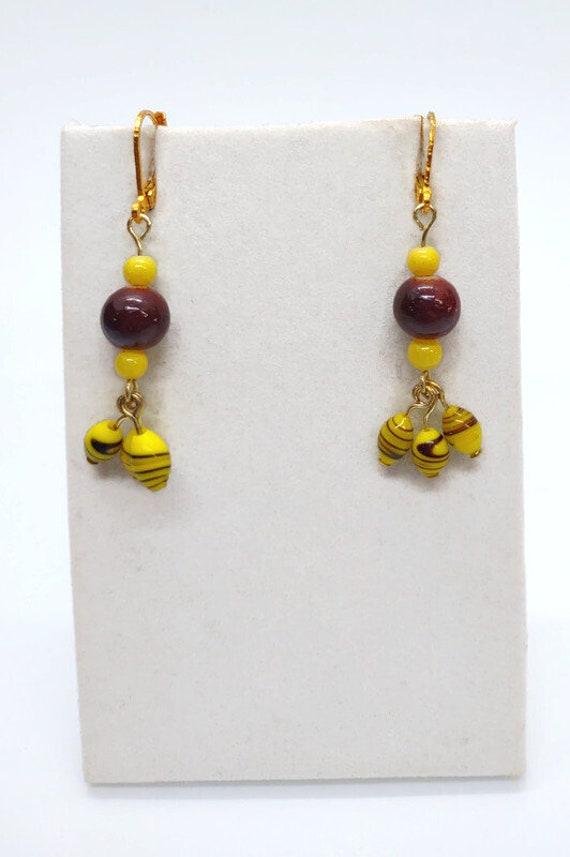 E-1691 Brown and Yellow Dangle Earrings