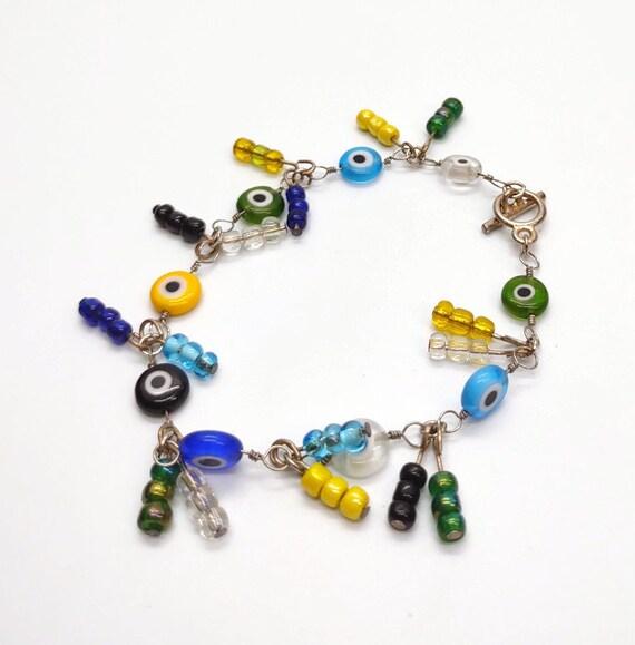 B-1620 multi colored glass beaded bracelet