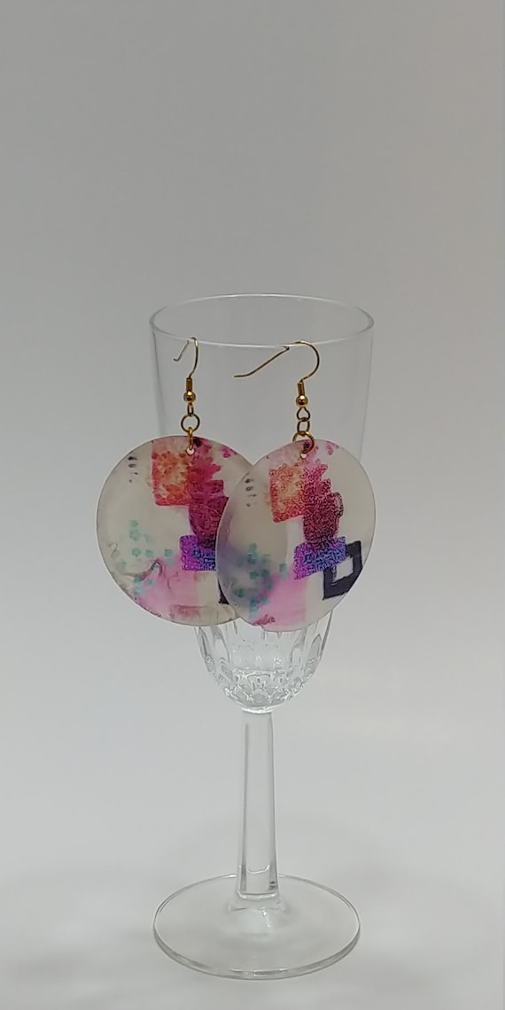 E-1540 Painted Shell Earrings